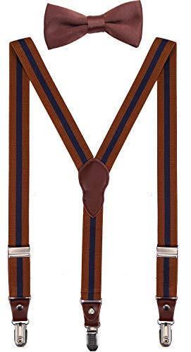 (Shark Tooth Mens Suspenders and Bow Tie Set Brown Navy Blue Striped 47'')