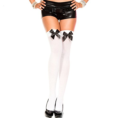 Polytree Women's Stretch Lace Bow Thigh High Stockings Over Knee Sock (White + Black Bowknot -