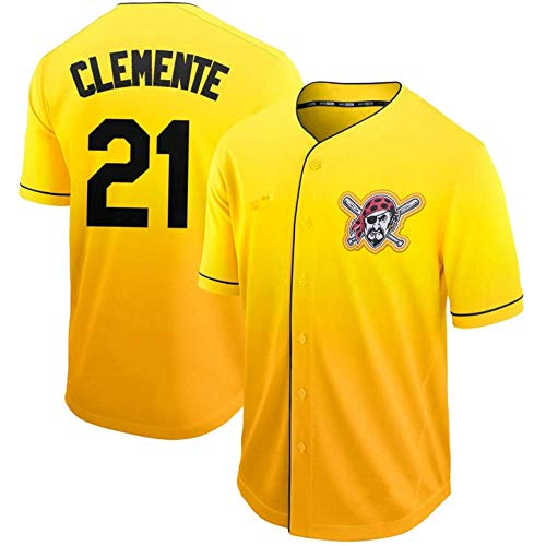 DukeLy Mens_Roberto_Clemente_Fade_Cool_Base_Player_Jersey (Roberto Clemente Baseball Jersey)