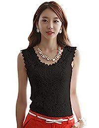 Lanyafang Women Lace Floral Sleeveless Crochet Knit Vest Tank Top Shirt Blouse