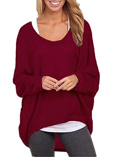 ZANZEA Women's Sexy Long Batwing Sleeve Loose Pullover Casual Top Blouse T-Shirt Wine Red US 14/Tag Size XXL