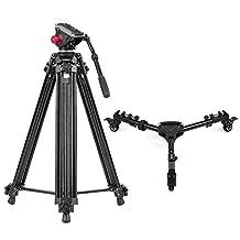 Andoer 67 Inch / 170CM Aluminum Alloy Camera Video Tripod Fluid Hydraulic Head Ballhead for Canon Nikon Sony DSLR Recorder DV Max Load 10kg + Photography Heavy Duty Tripod Dolly Max. Load 25kg