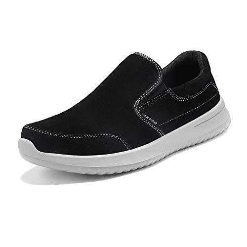 Bruno Marc Men's Slip on Walking Shoes Suede Sneakers Walk-Soft-01 Black Grey Size 9.5 M US