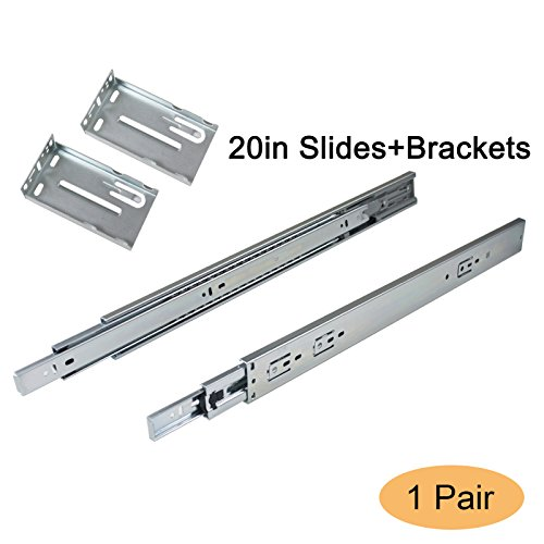 Gobrico 20-inch Soft Close Full Extension Ball Bearing Rear Mount Drawer Slides with Brackets, 1Pair by Gobrico