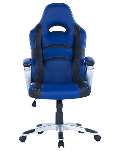 Killbee Large Ergonomic Gaming Chair  High Back Swivel  Executive Office Chair Height Adjustable PU Leather Bucket Seat Task Chair Over 400lbs Capacity(Blue) - Over Executive Office Package