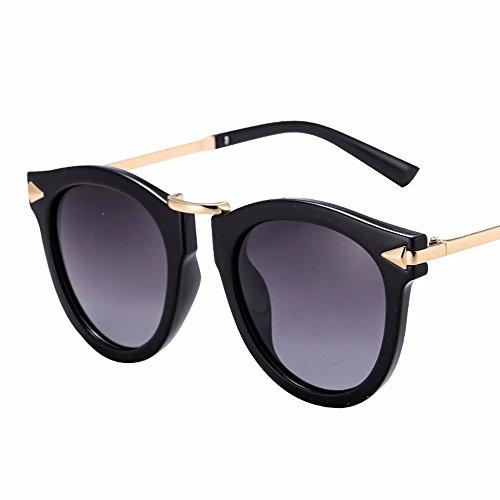 personalidad alto de brillo sol Retro Negro de redondo espejo Metal las sol gafas de alto brillo gafas azul XIAOGEGE de fuera de UOXqO