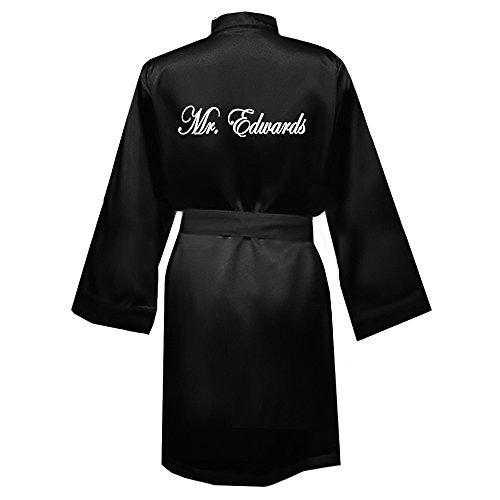 Classy Bride Personalized Mr. Satin Groom Robe - Black by Classy Bride (Image #3)