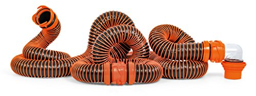 (Camco RhinoEXTREME 20ft RV Sewer Hose Kit, Includes Swivel Fitting and Translucent Elbow with 4-In-1 Dump Station Fitting, Crush Resistant, Storage Caps Included - 39867 )