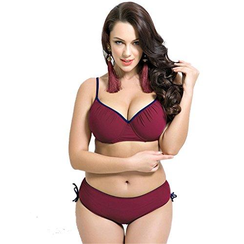 Leories Women's Plus Size Pleated Push up Two-piece Swimsuit Swimwear Bikini Set Red(12-14)