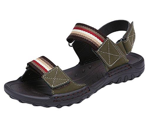 Cuero Deportivas Con Zapatos Transpirables Outdoor Hombre Verde Ejército Studio Sandalias SK Velcro de BTSIq6g