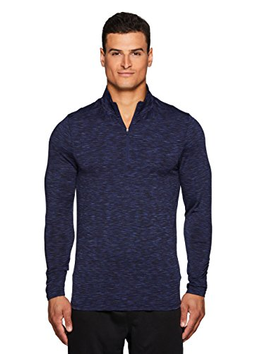 RBX Active Mens Striped 1/4 Zip Fitted Long Sleeve Workout Top Navy (1/4 Zip Long Sleeve Top)