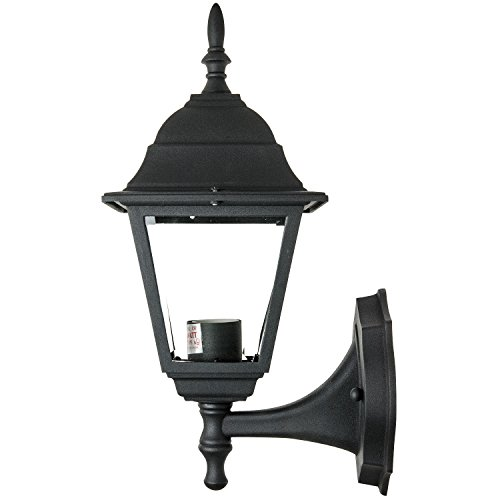 Sunlite ODI1130 16-Inch Decorative Post Style Wall Mount Up Outdoor Fixture, Black Finish with Clear Glass