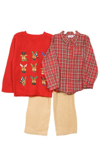 NWT Baby Togs Boys 3 pc Christmas sweater set