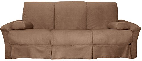 Tango Perfect Sit & Sleep Pocketed Coil Inner Spring Pillow Top Sofa Sleeper Bed, Full-size, Microfiber Suede Mocha Brown Upholstery