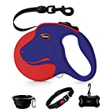 QiMH Retractable Dog Leash, 360° Tangle-Free Heavy Duty 16ft Reflective Walking Dog Leash Ribbon for Medium and Large Dogs Up to 110lbs with Anti-Slip Handle, One-Handed Brake, Pause and Lock, Blue