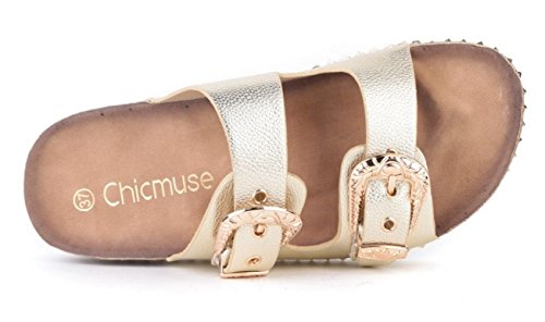 SHU CRAZY Womens Ladies Slip On Studded Buckle Detail Casual Mule Summer Sliders Shoes - O97 Gold mO2gU