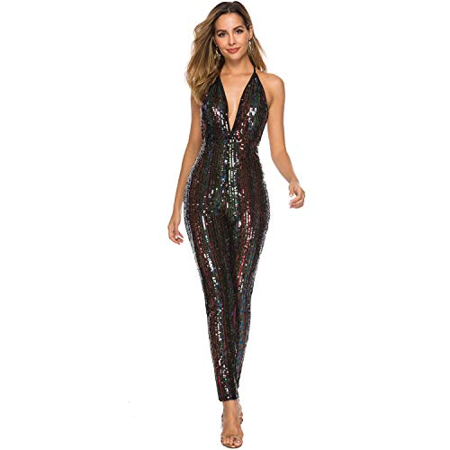 (PORRCEY Teen Strapless Leotards Club Sequined Jumpsuits (Small, Black 6))