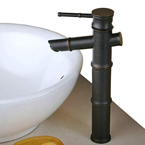 Bamboo Bath Vessel Sink (Tall Single Lever Oil Rubbed Bronze Bamboo Bathroom Sink Basin Mixer Tap,12inch)