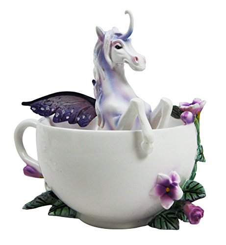 Amy Brown Tea Cup Spring Iris Unicorn Collector (Mystical Unicorn Collectible Figurine)