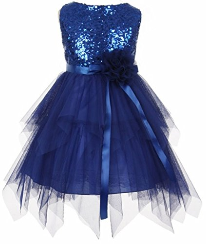 AkiDress Sequin Bodice with Double Layer Mesh Flower Girl Dress for Little Girl Royal 2 ()