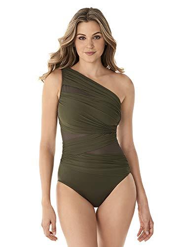 Miraclesuit Women's Swimwear Network JENA Asymmetrical Neckline Tummy Control One Piece Swimsuit, Olivetta, 12