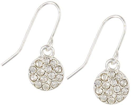 Rhinestone Chaps (Chaps Clear Rhinestone Pave Disc Earrings One Size Silver tone/clear)