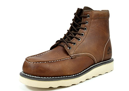 [ARCTIV8 Men's GROUND PRO 6 Inches Premium Full-Grain Leather Soft Moc Toe Wedge Work Boots Brown Size 9.5] (Moc Toe Work Shoes)