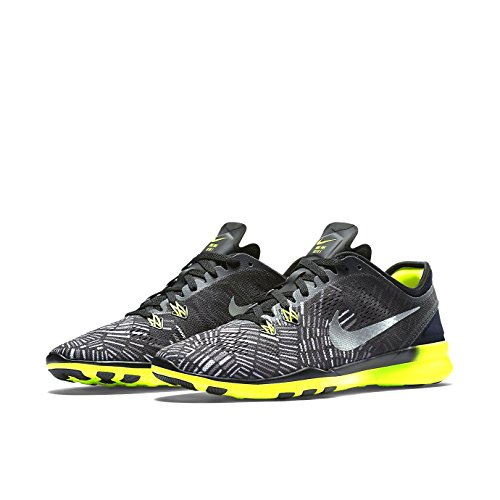 Nike Womens Free 5.0 Tr Fit 5 Scarpe Da Allenamento Nero / Volt / Argento Metallico