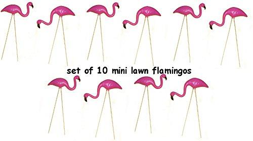set of 10 Pink Flamino Mini Lawn Ornaments Yard Decor ()