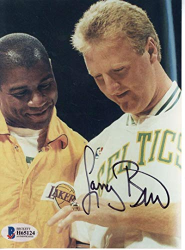 Larry Bird Signed Autographed 4x6 Champ Ring w/Magic Photograph Beckett ()