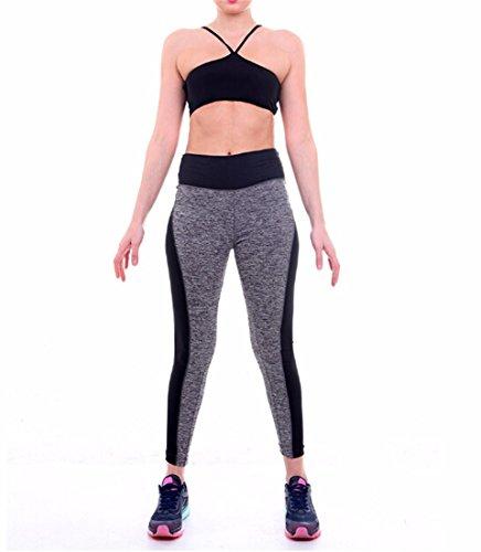 QIYUN.Z Las Mujeres Negras Gris Mosaico De Gimnasio Delgado Polainas De Los Pantalones De Yoga Para Correr Los Deportes De Yoga Ab Hilo -001