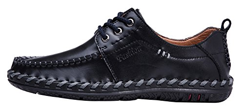 AGOWOO Herren Tide Slip On Loafer beiläufige Lace Up Lederschuhe Black_lace_up