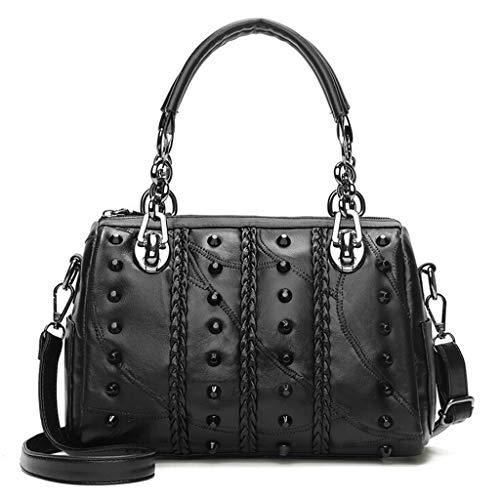 - Women's Baguette Bag PU Leather Black Studded Tote Bag Leather and Chain Handle Briefcase Strap Adjustable Shoulder Bag Large Capacity Workplace Business Lady Messenger Bag (B)