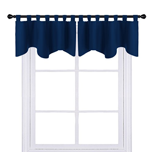 PONY DANCE Bedroom Window Valances - Scalloped Curtain Blackout Tier Home Decor Short Drapes Solid Color Valance Window Dressing Match for Living Room, 52 x 18 Inch, Navy Blue, Set (7 Piece Living Room Package)