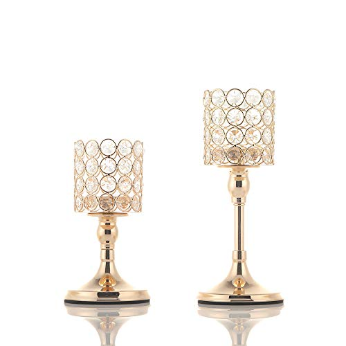 VINCIGANT 2 PCS Crystal Candle Holders for Home