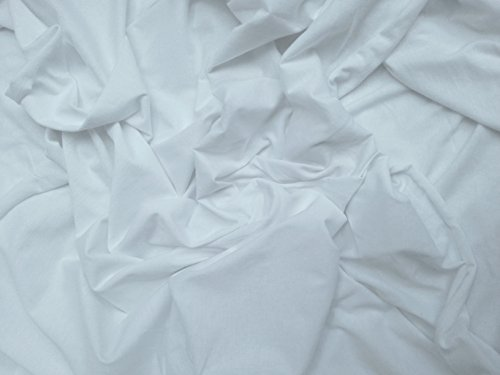 White Egyptian Cotton Spandex Fabric 4 Way Stretch Jersey Knit by Yard Made in the USA
