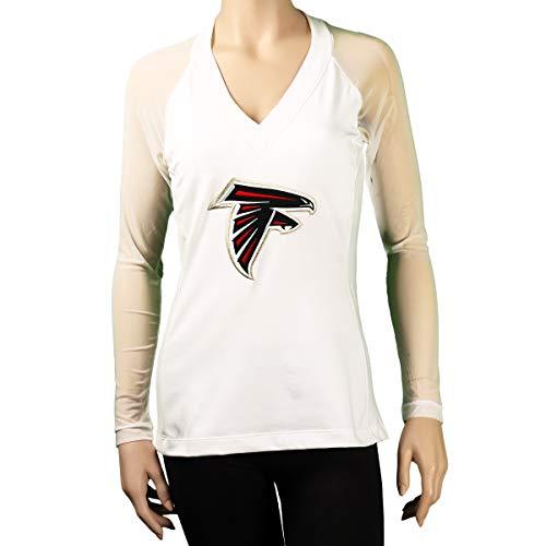 All Sport Couture Atlanta Falcons Ladies Fashion Long Sleeve V-Neck Halter Top - NFL Apparel (Medium, White)
