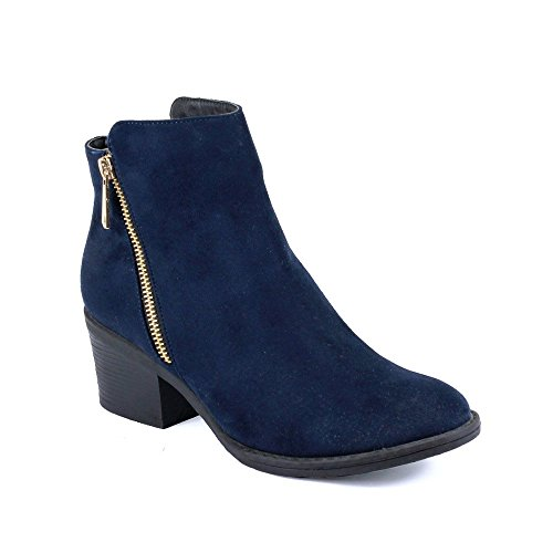 Reneeze Pama-01 Women's Zipper Stacked Chunky Heels Strappy Ankle Booties Navy