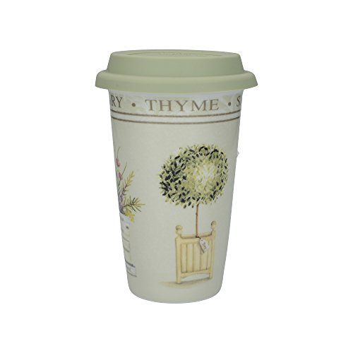 Creative Tops 'Topiary' Double Walled Insulating Ceramic Travel Mug, 350 ml (12.5 fl oz) - Green