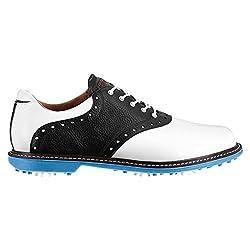 Ashworth Mens Kingston Saddle Golf Shoes, Whiteblackazure, 9.5 D(m) Us