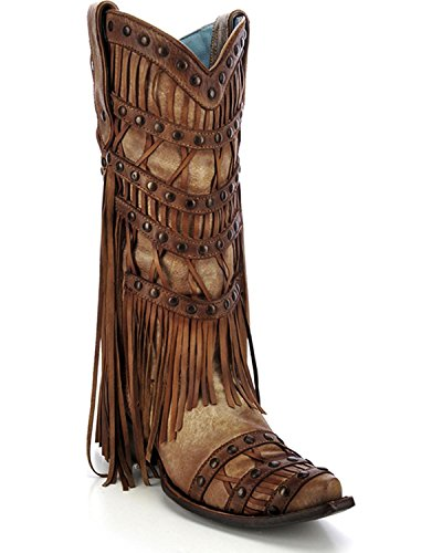 CORRAL Women's Studded Fringe Cowgirl Boot Snip Toe Tan 8.5 M US