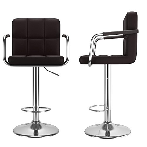 Modern Adjustable Lift Swivel Bar Stool Chair 2 Pack PU Leather Chair with Armrest and Back (coffee)