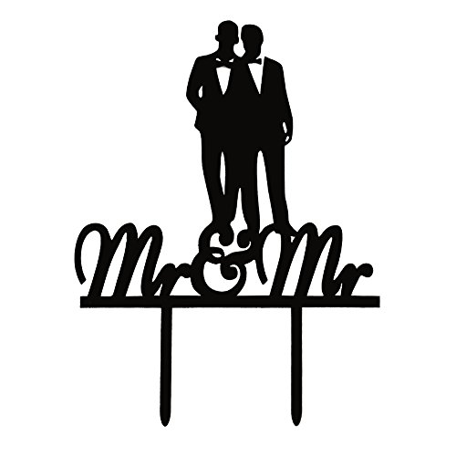 Groom Wedding Cake Topper - Mr & Mr Cake Topper, Gay Couple Acrylic Wedding/Coimg out Party Decoratoions-Black Color