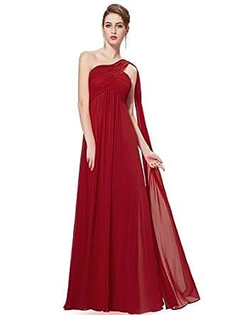 Ever-Pretty Womens One Shoulder Floor Length Evening Dress 4 US Burgundy