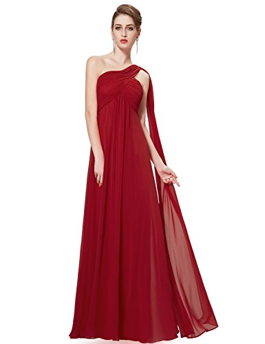 Ever-Pretty Womens Floor Length Ruched Bust Long Bridesmaid Dress 8 US Burgundy
