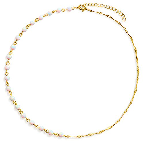 "14k Choker Necklace Gold (Choker Necklace: Opal Choker White Opal Beads 14K Gold Beaded Choker Necklace for Women Unique Design (13""))"