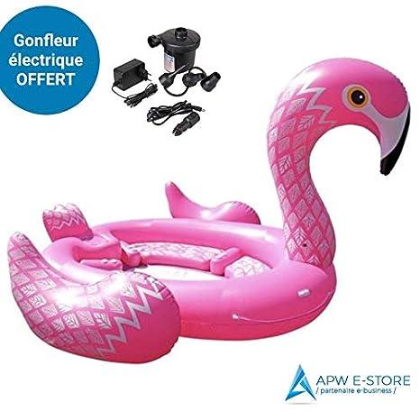 APW e-store Gigante Flamenco Flotador 6/7 Personas XXL + Bomba de Aire eléctrica Offerte: Amazon.es: Juguetes y juegos