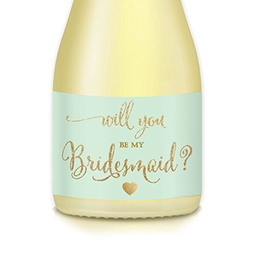 Will You Be My Bridesmaid? Stickers Mini Champagne Bottle Labels Bridal Wedding Party Maid Matron of Honor Bride Proposal, Ask Best Friends, Multi-Use Label Favors, Gift Box, Gift Bags, 3.5