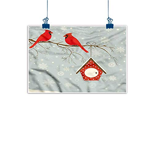 Cardinals Glass Light Night (Warm Family Light Luxury American Oil Painting Cardinal Tree Branches Snowy Night Home and Everything 35