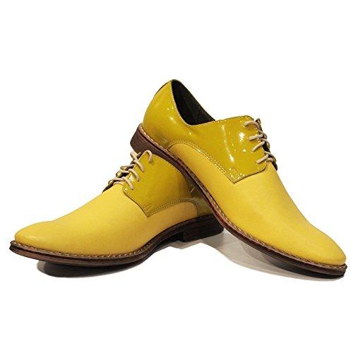 PeppeShoes Modello Banana - Handmade Italiano da Uomo in Pelle Giallo Scarpe da Sera - Vacchetta Pelle di Brevetto - Allacciare